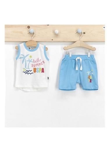 U.S. Polo Assn. Lisanslı Hello Summer Krem Uçuk Mavi  Erkek Bebek Şort Takım Krem